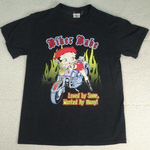 "Betty Boop ""Biker Babe"" Black T-Shirt Medium"